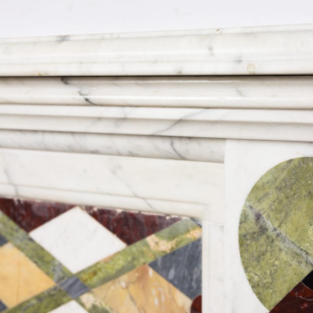 Victorian Arts and Crafts Carrara marble inlaid chimneypiece,-128830