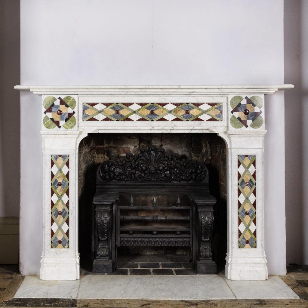 Victorian Arts & Crafts Carrara marble inlaid chimneypiece