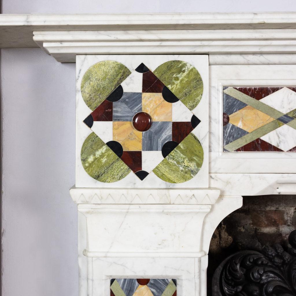 Victorian Arts and Crafts Carrara marble inlaid chimneypiece,-128813