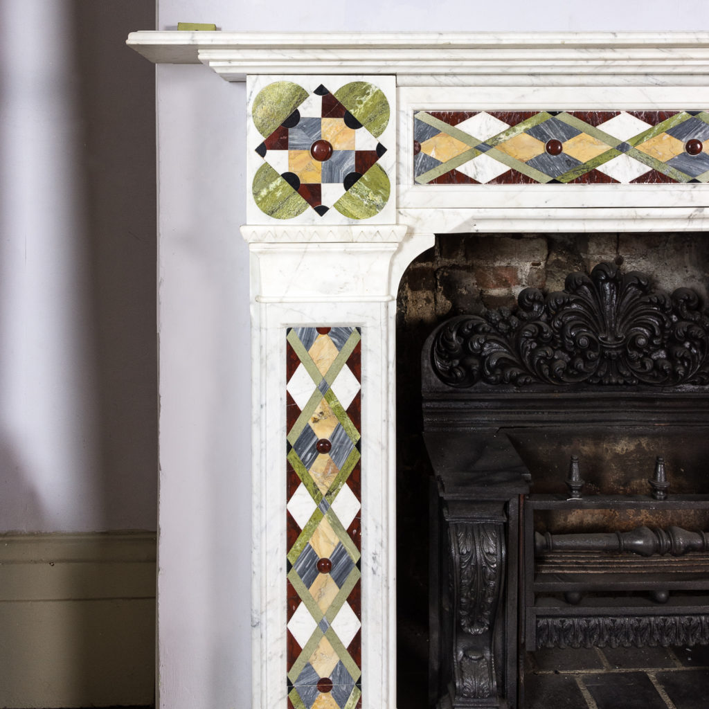 Victorian Arts and Crafts Carrara marble inlaid chimneypiece,-128815