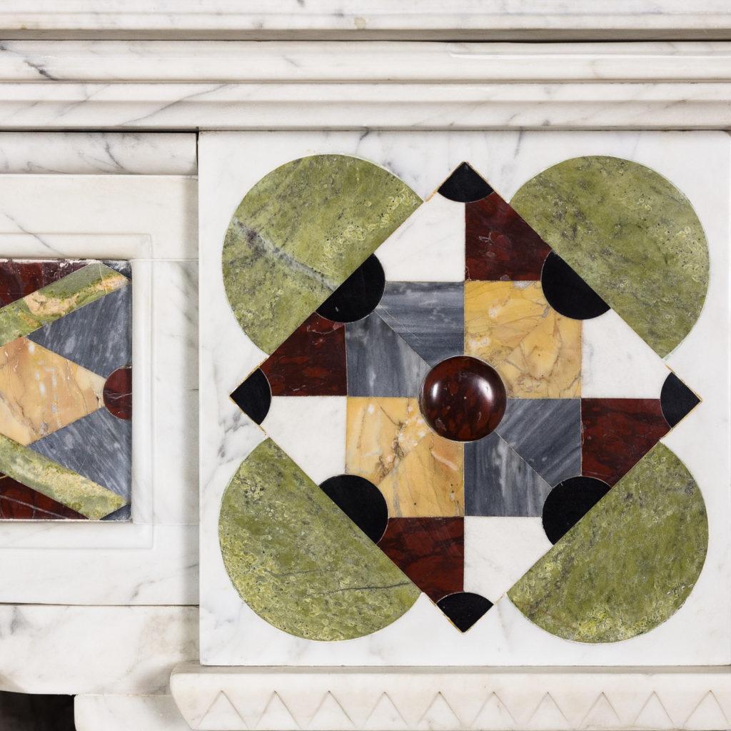 Victorian Arts and Crafts Carrara marble inlaid chimneypiece,-128818