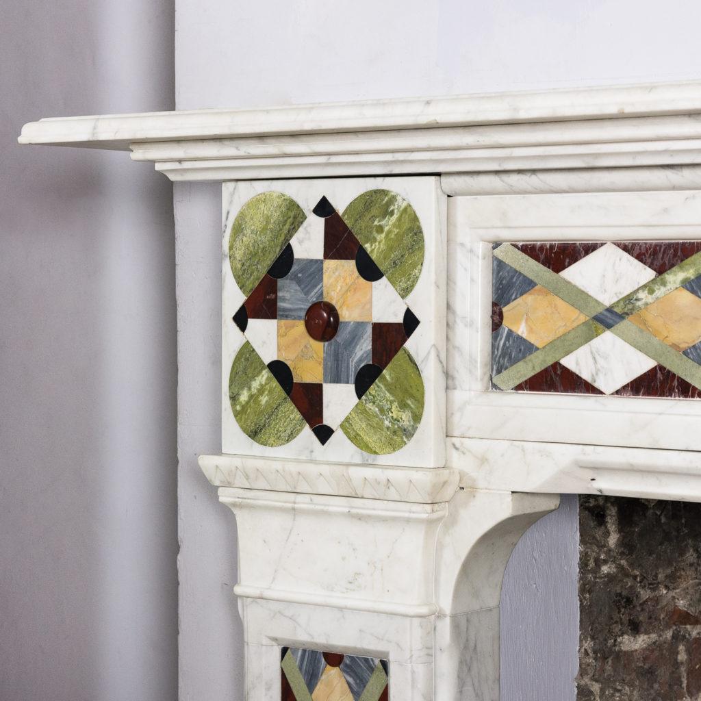 Victorian Arts and Crafts Carrara marble inlaid chimneypiece,-128819