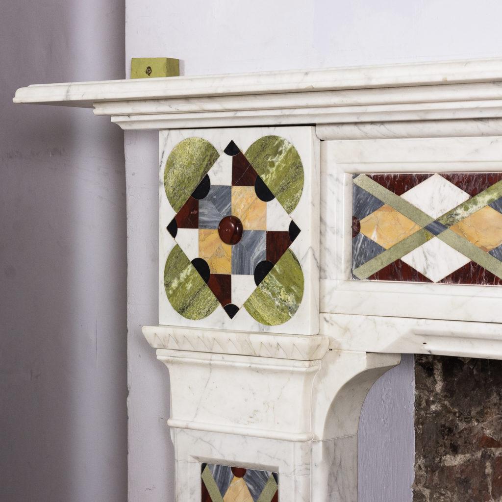 Victorian Arts and Crafts Carrara marble inlaid chimneypiece,-128817