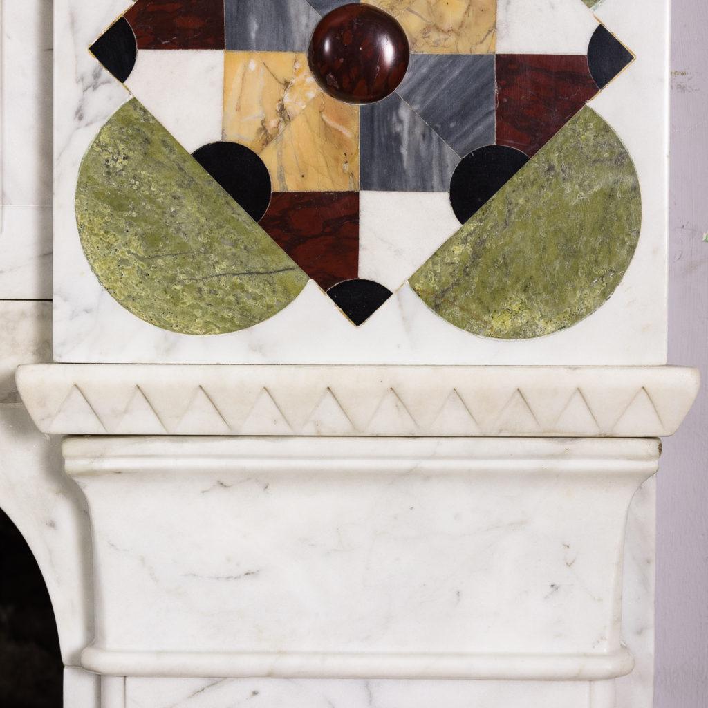 Victorian Arts and Crafts Carrara marble inlaid chimneypiece,-128820