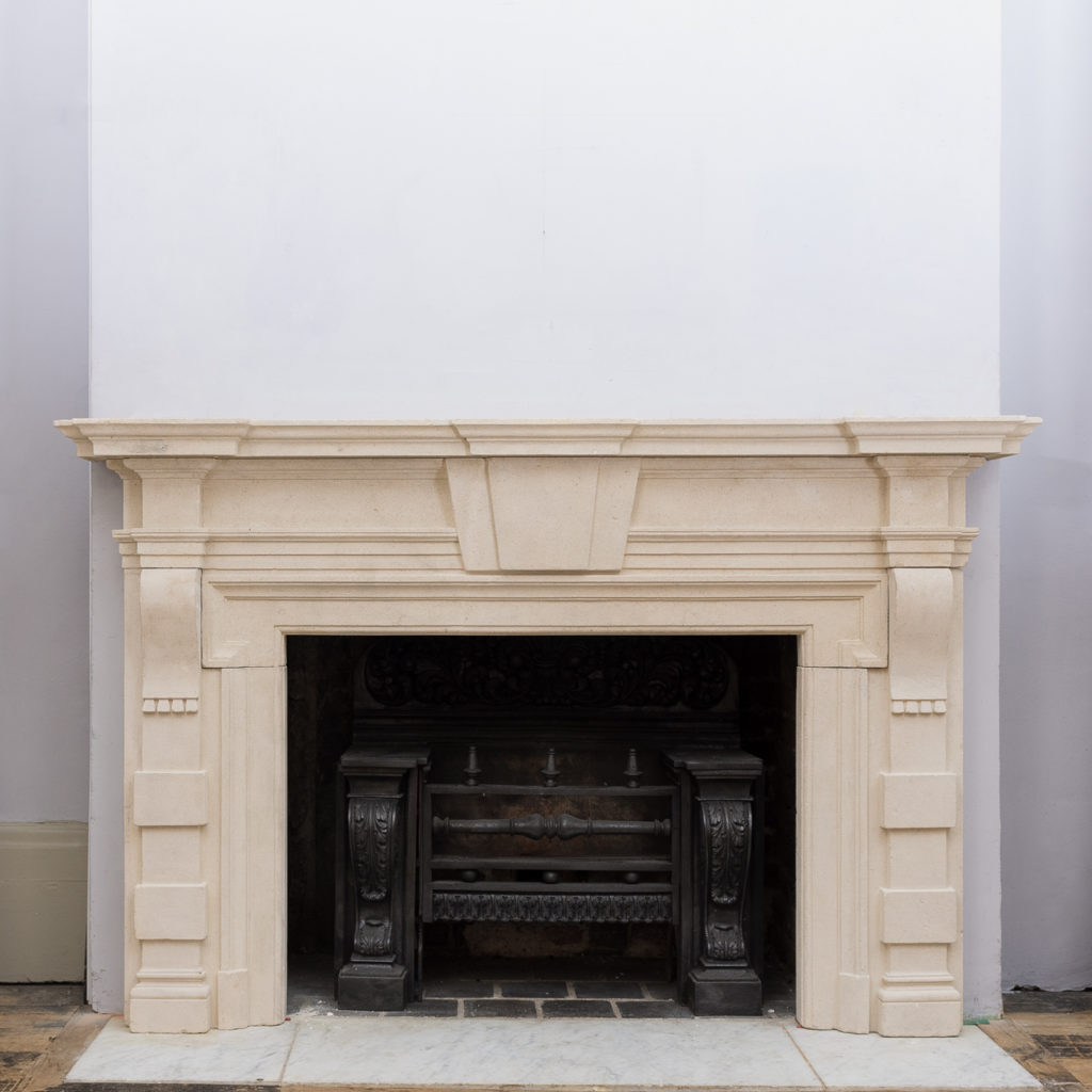 Early twentieth century Bathstone chimneypiece,