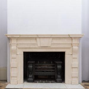Early twentieth century Bathstone chimneypiece,