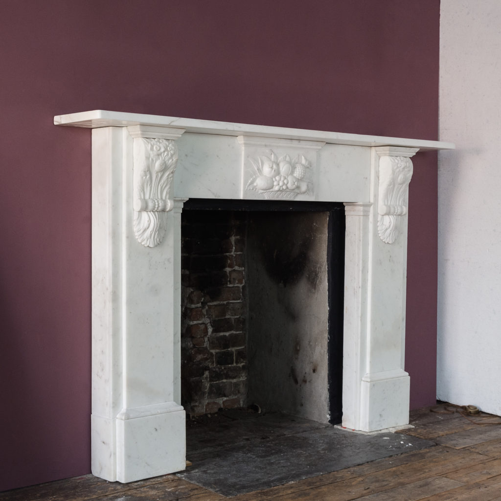 Early Victorian statuary marble chimneypiece,
