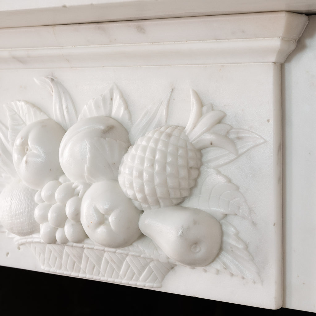 Early Victorian statuary marble chimneypiece,-130417