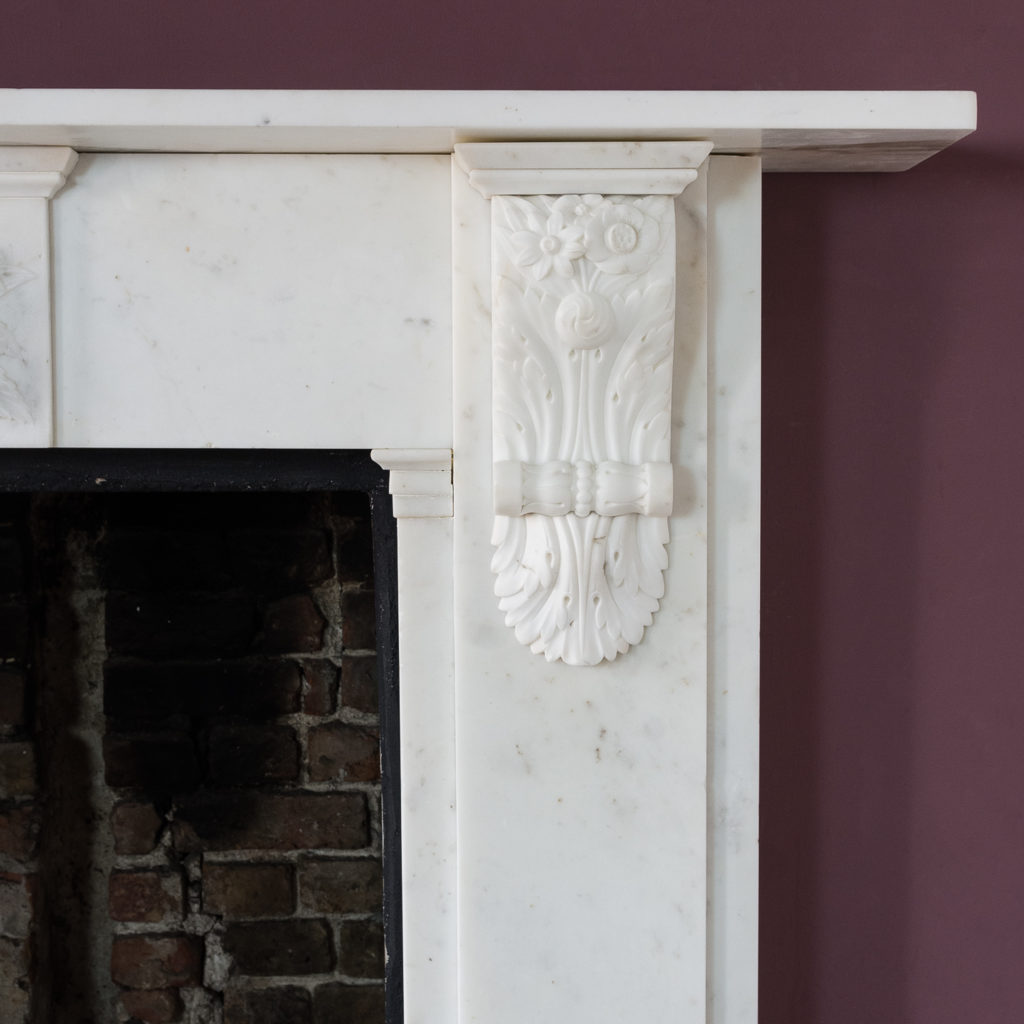 Early Victorian statuary marble chimneypiece,-130410