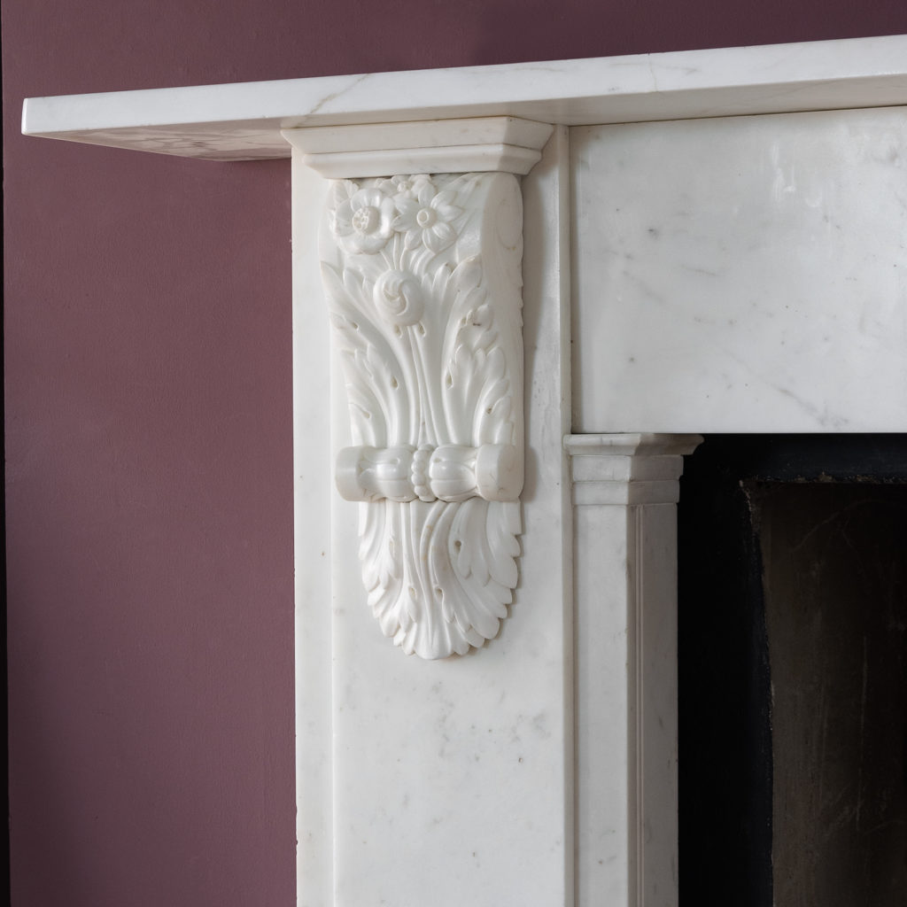 Early Victorian statuary marble chimneypiece,-130411