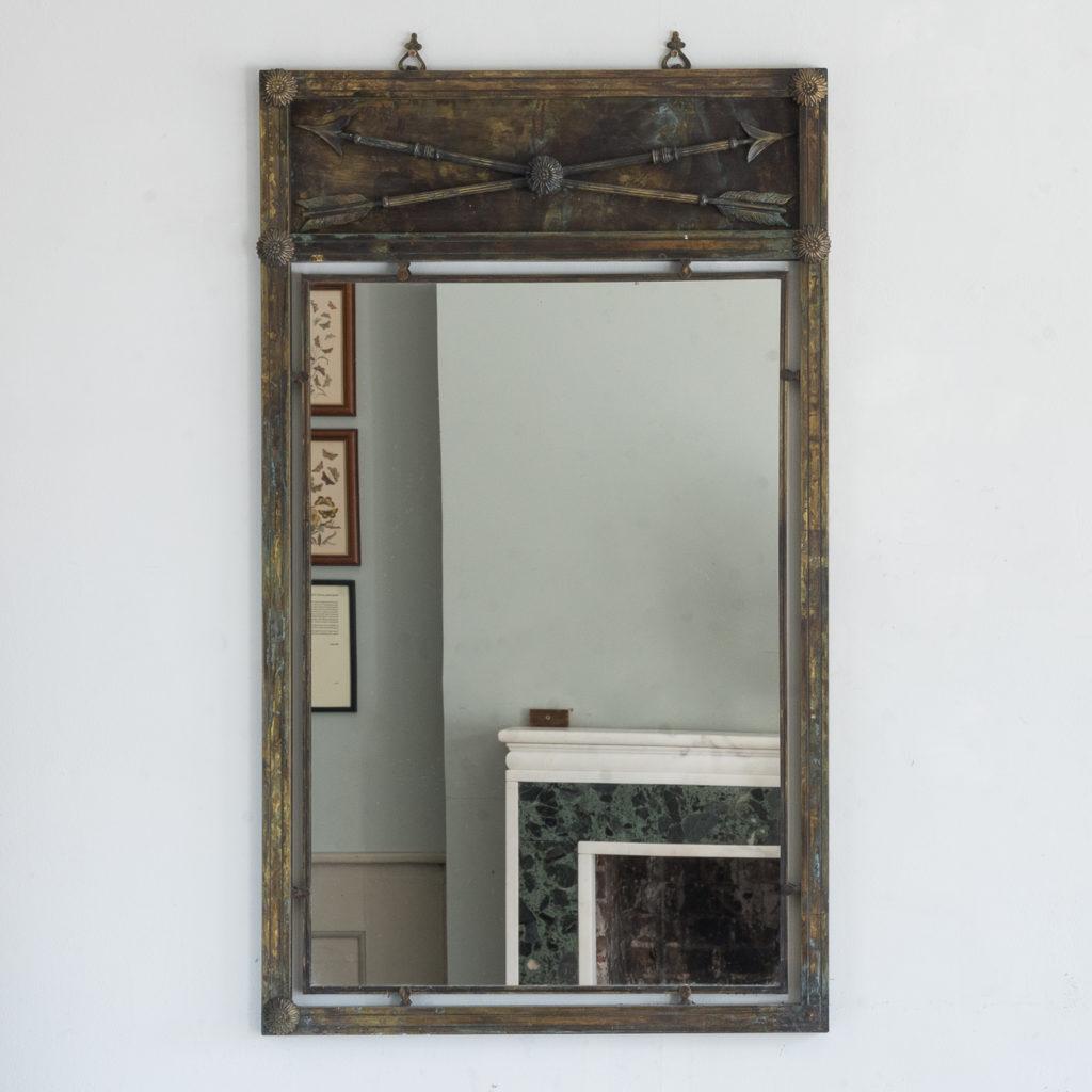 Mid-twentieth century French bronze mirror,