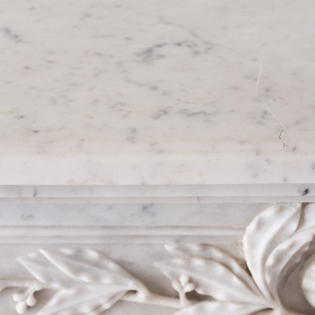 Louis XVI style Carrara marble chimneypiece,-130532