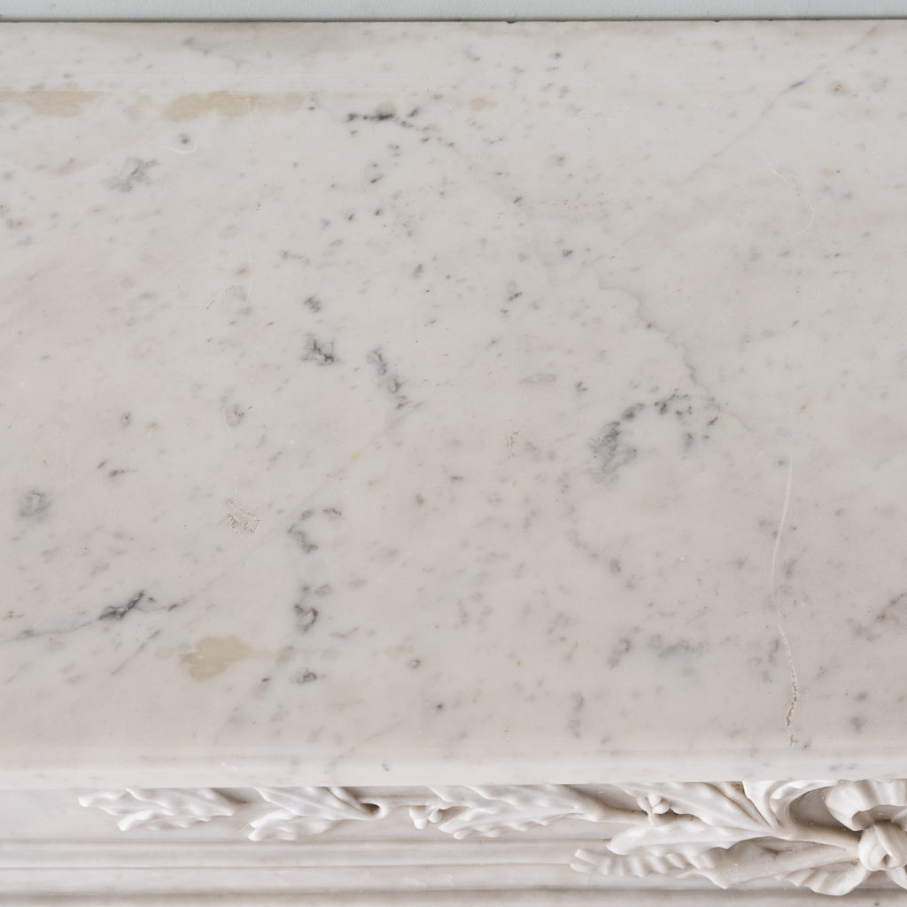 Louis XVI style Carrara marble chimneypiece,-130534