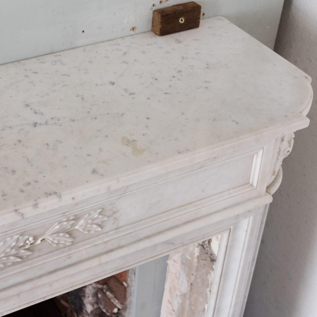 Louis XVI style Carrara marble chimneypiece,-130535