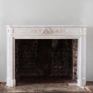Louis XVI style Carrara marble chimneypiece,
