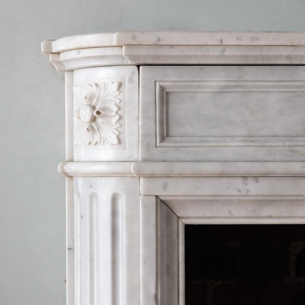 Louis XVI style Carrara marble chimneypiece,-130522