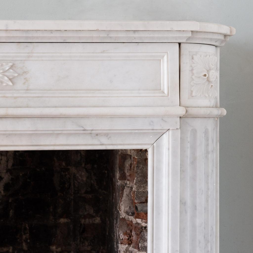 Louis XVI style Carrara marble chimneypiece,-130527