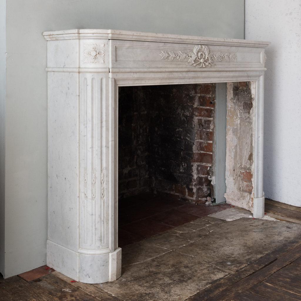Louis XVI style Carrara marble chimneypiece,-130528