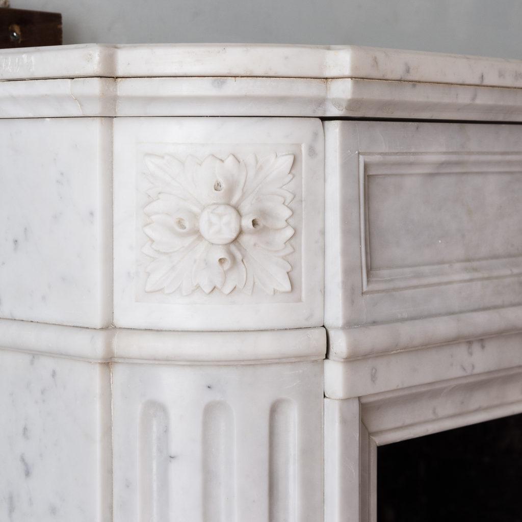 Louis XVI style Carrara marble chimneypiece,-130529