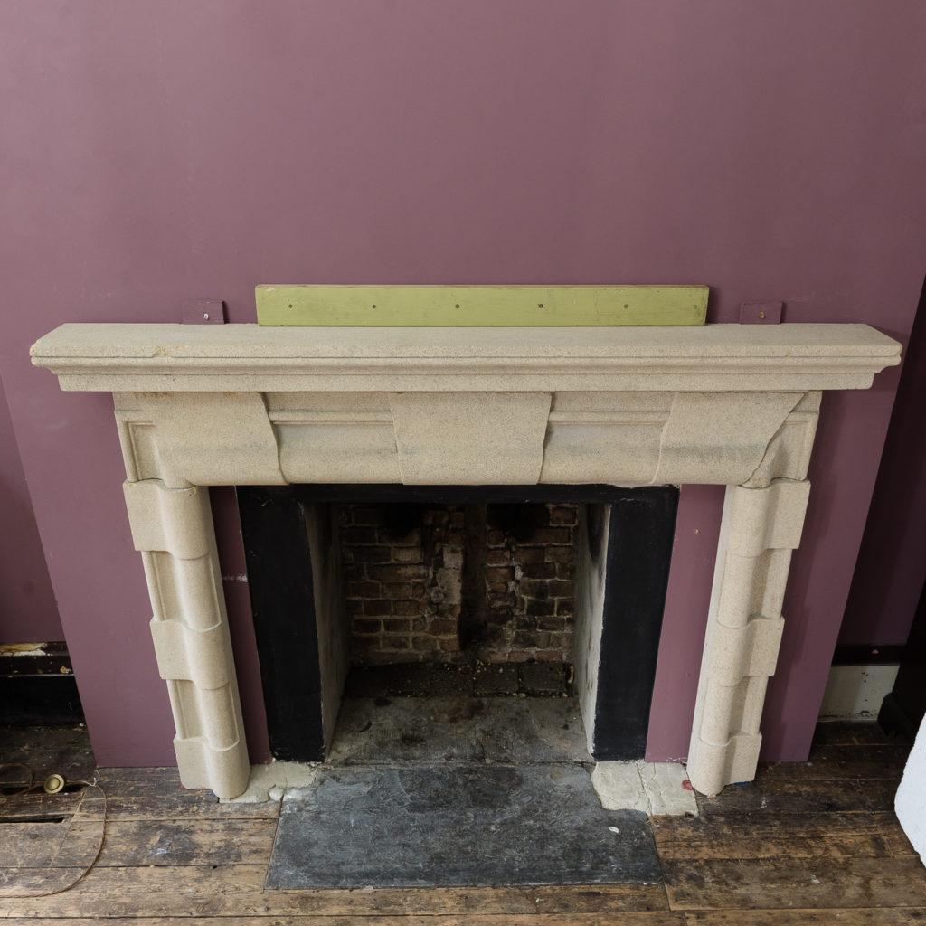 English Baroque style stone chimneypiece,-130477
