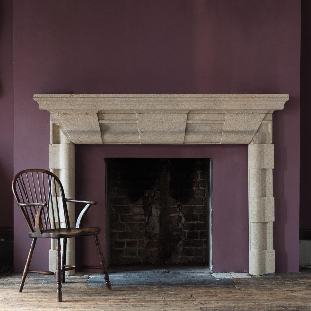 English Baroque style stone chimneypiece,