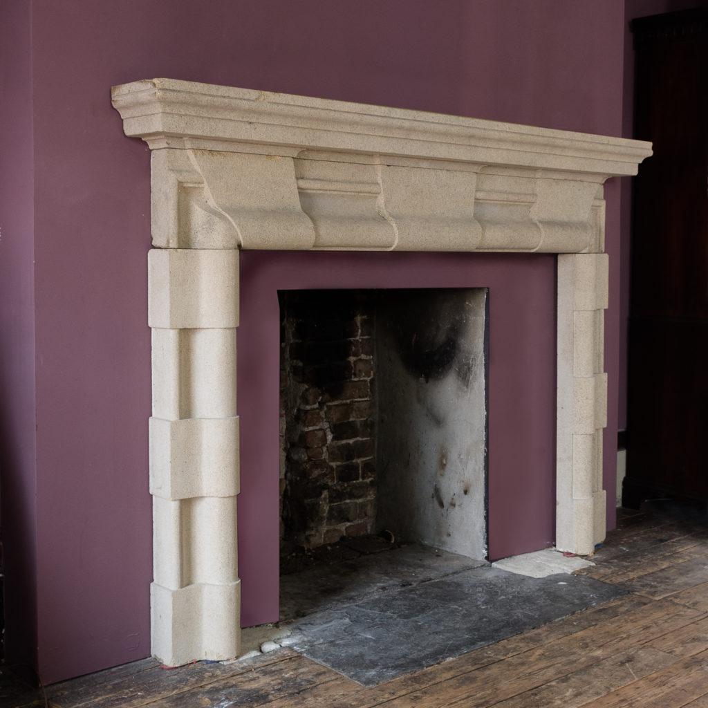 English Baroque style stone chimneypiece,-130470