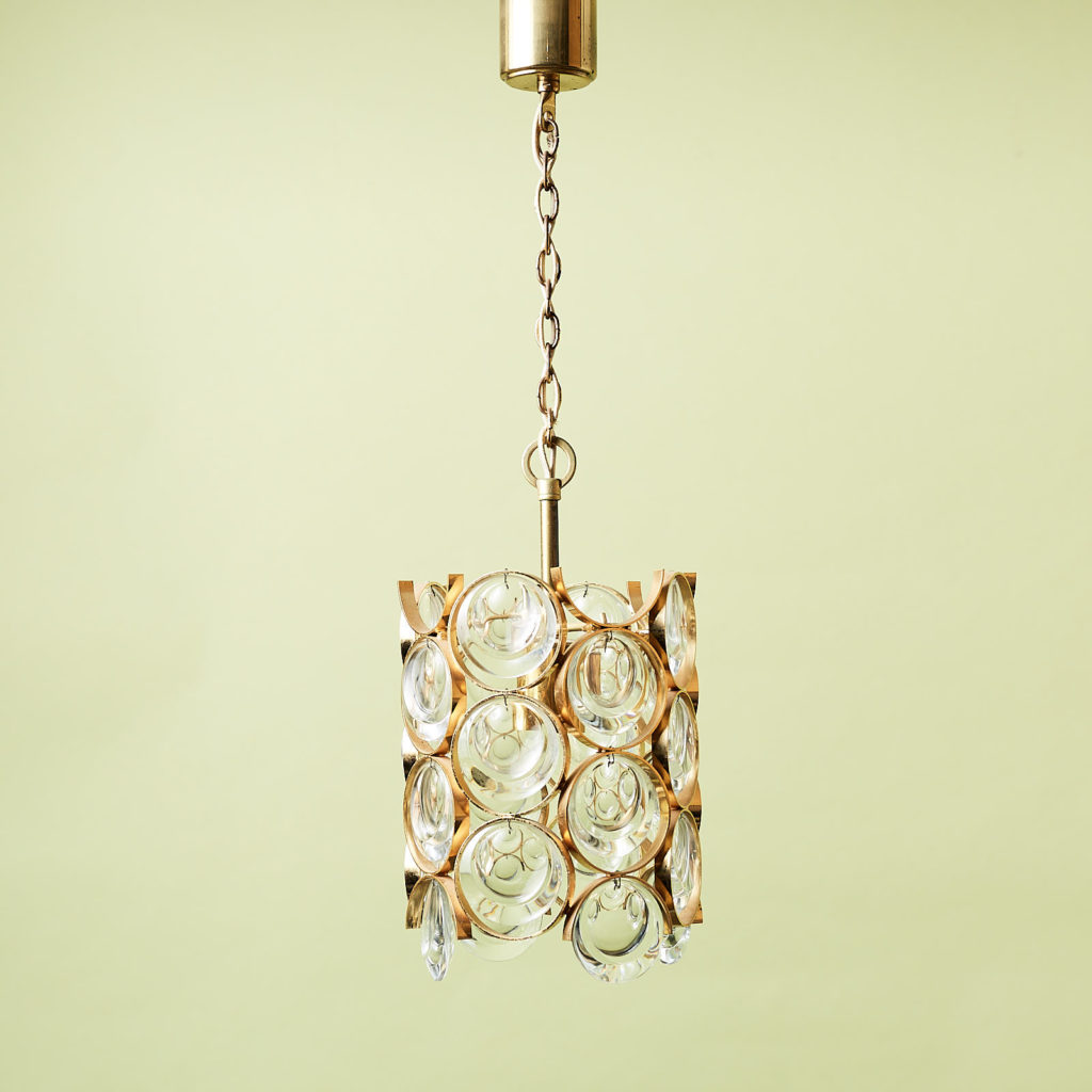 Small gold plated brass framed glass chandelier, -0