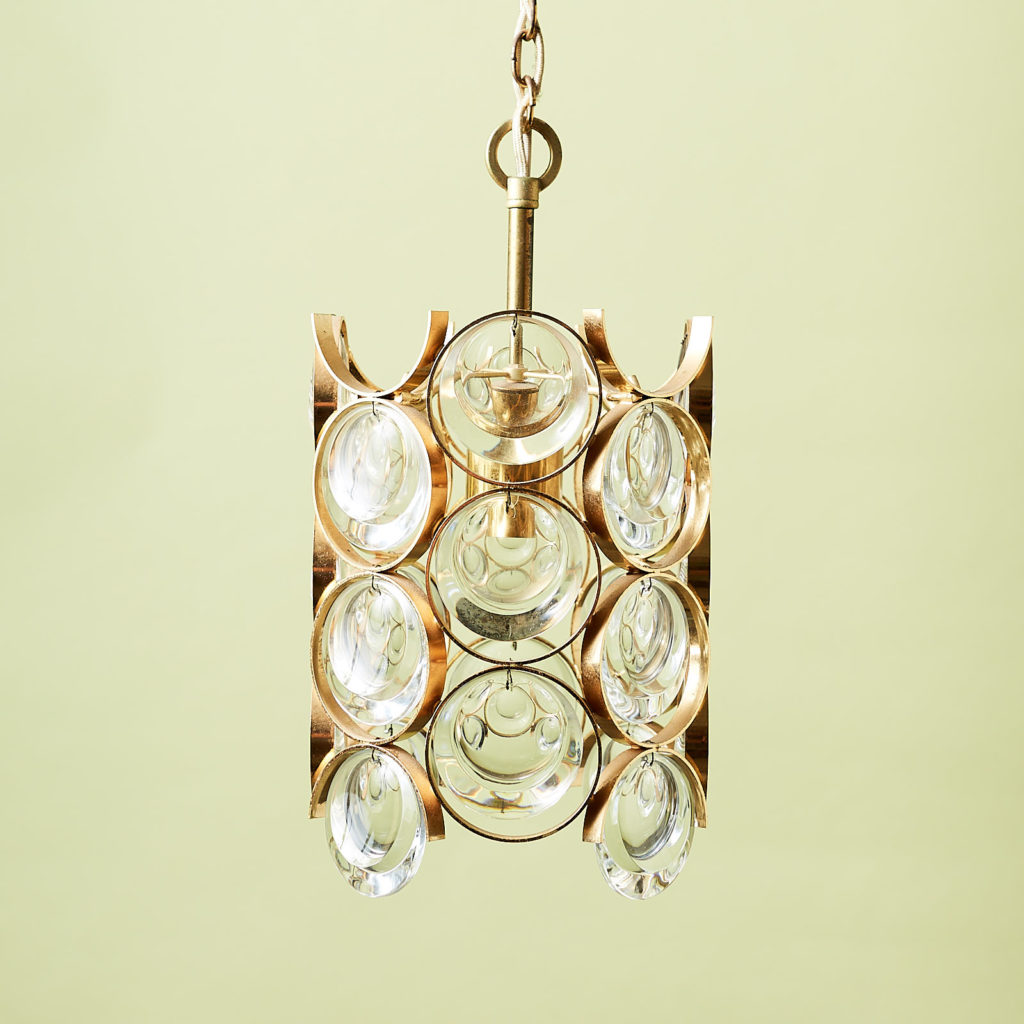 Small gold plated brass framed glass chandelier, -131396