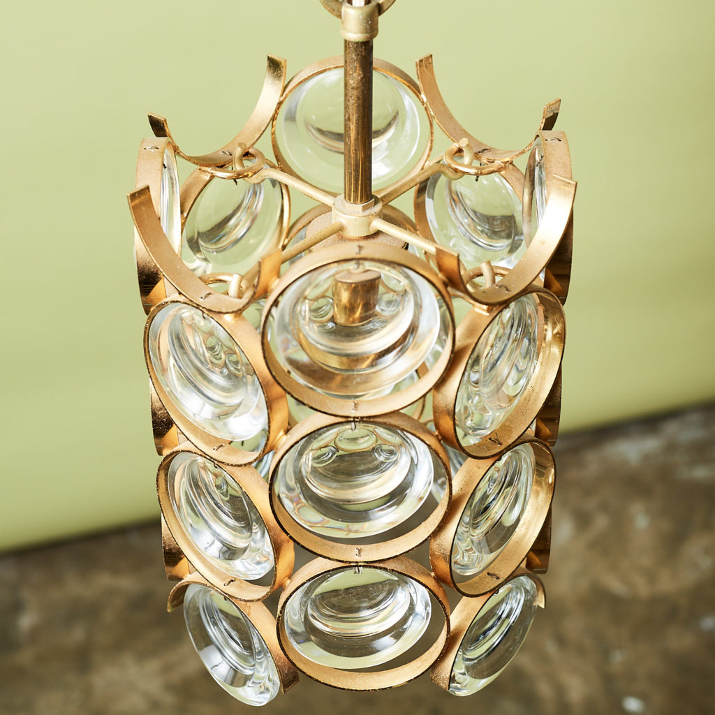 Small gold plated brass framed glass chandelier, -131397