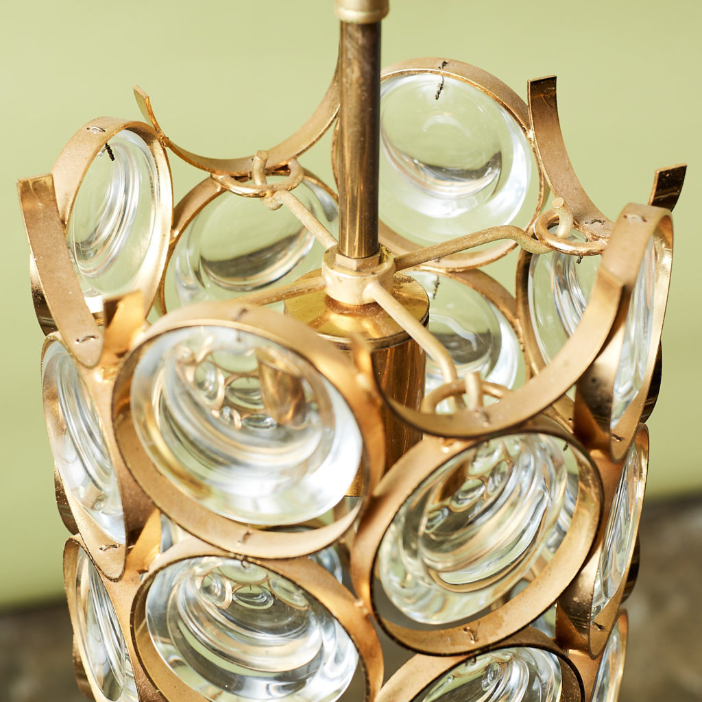 Small gold plated brass framed glass chandelier, -131398