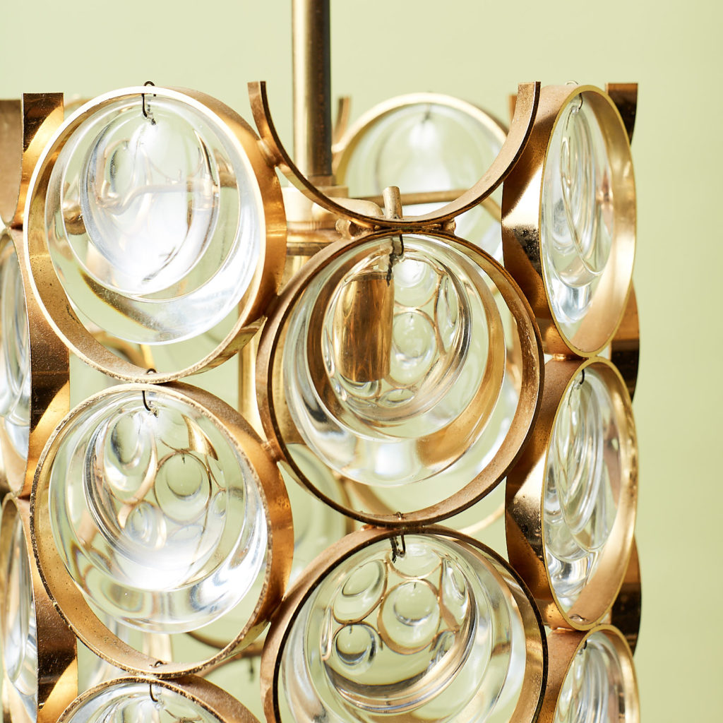 Small gold plated brass framed glass chandelier, -131399