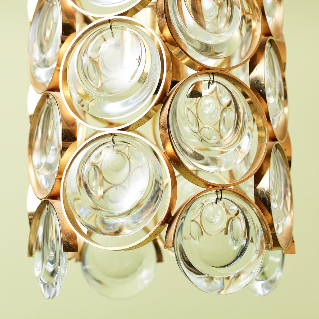 Small gold plated brass framed glass chandelier, -131400