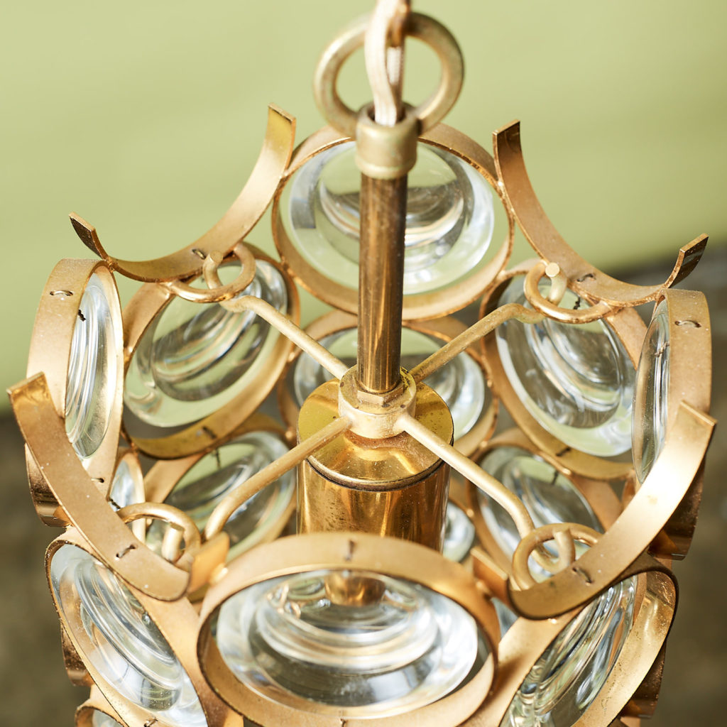 Small gold plated brass framed glass chandelier, -131404