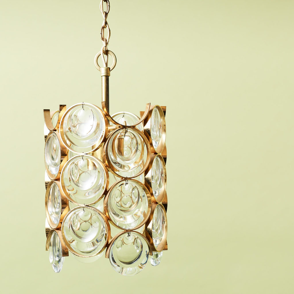 Small gold plated brass framed glass chandelier, -131403