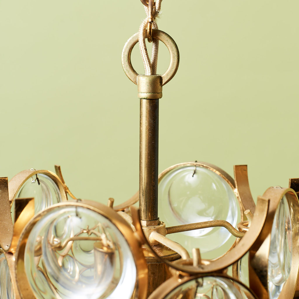 Small gold plated brass framed glass chandelier, -131406
