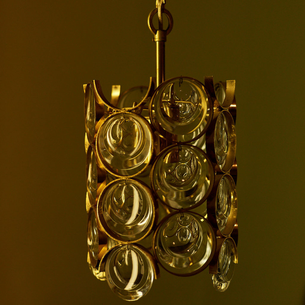 Small gold plated brass framed glass chandelier, -131407