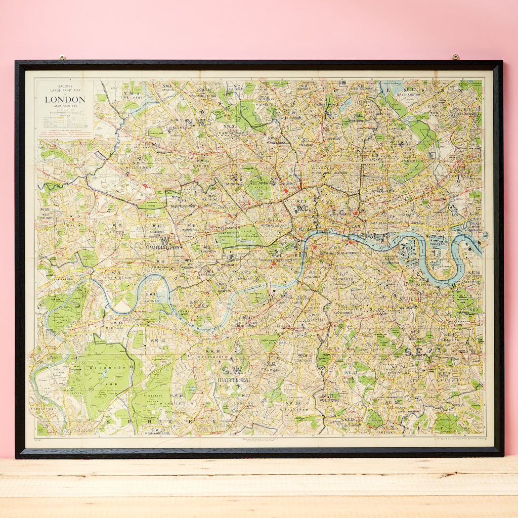 Bacon's large print map of London,-0