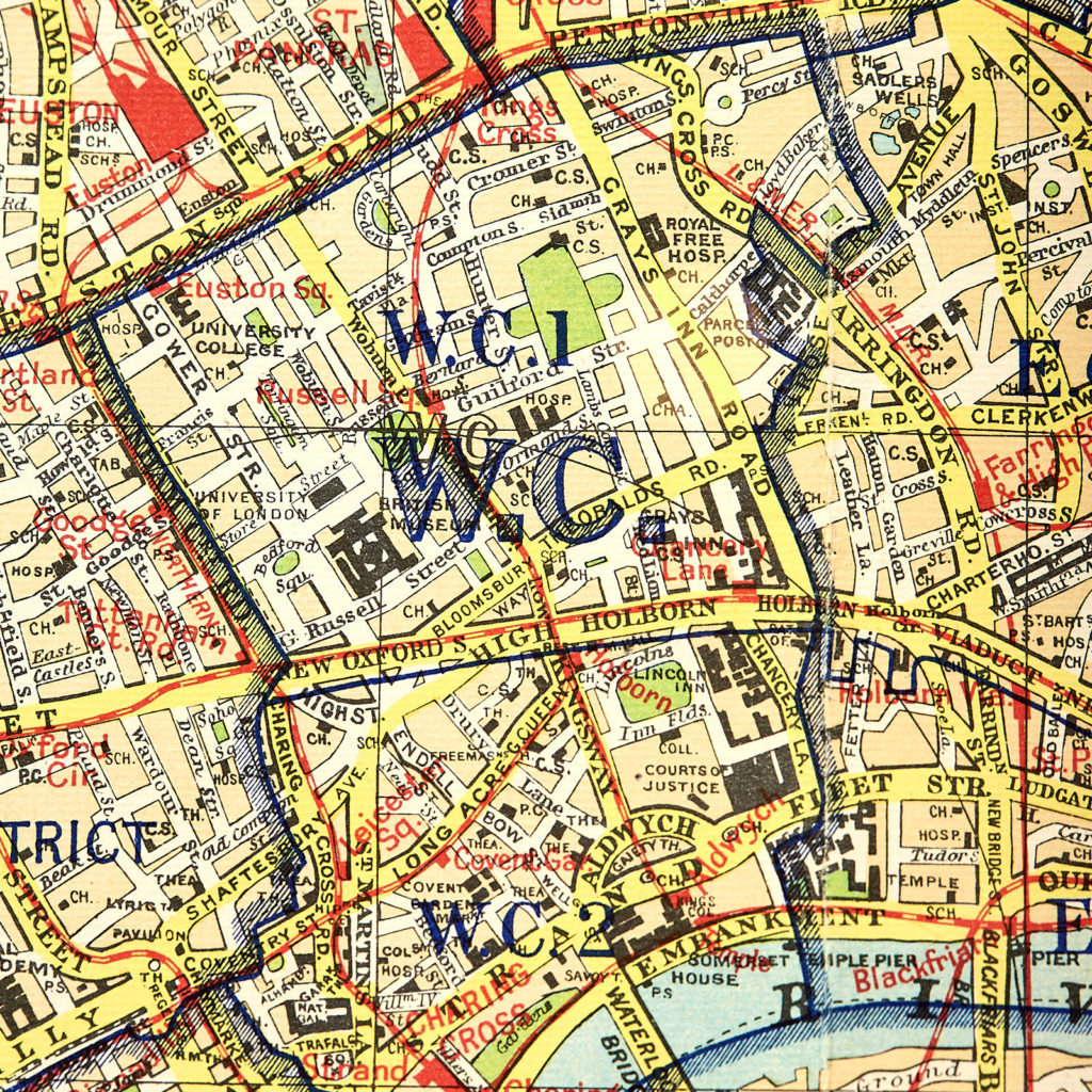 Bacon's large print map of London,-130894
