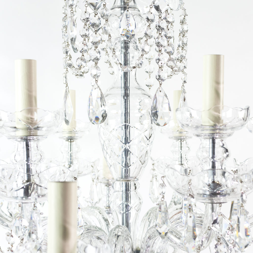 Two twentieth century cut and moulded glass twelve light chandeliers,-131583