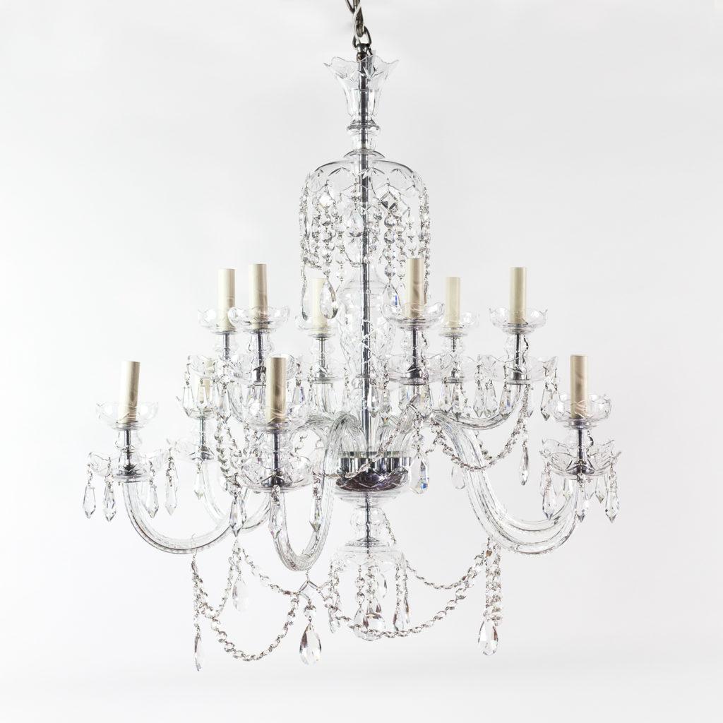 twentieth century cut and moulded glass twelve light chandeliers,