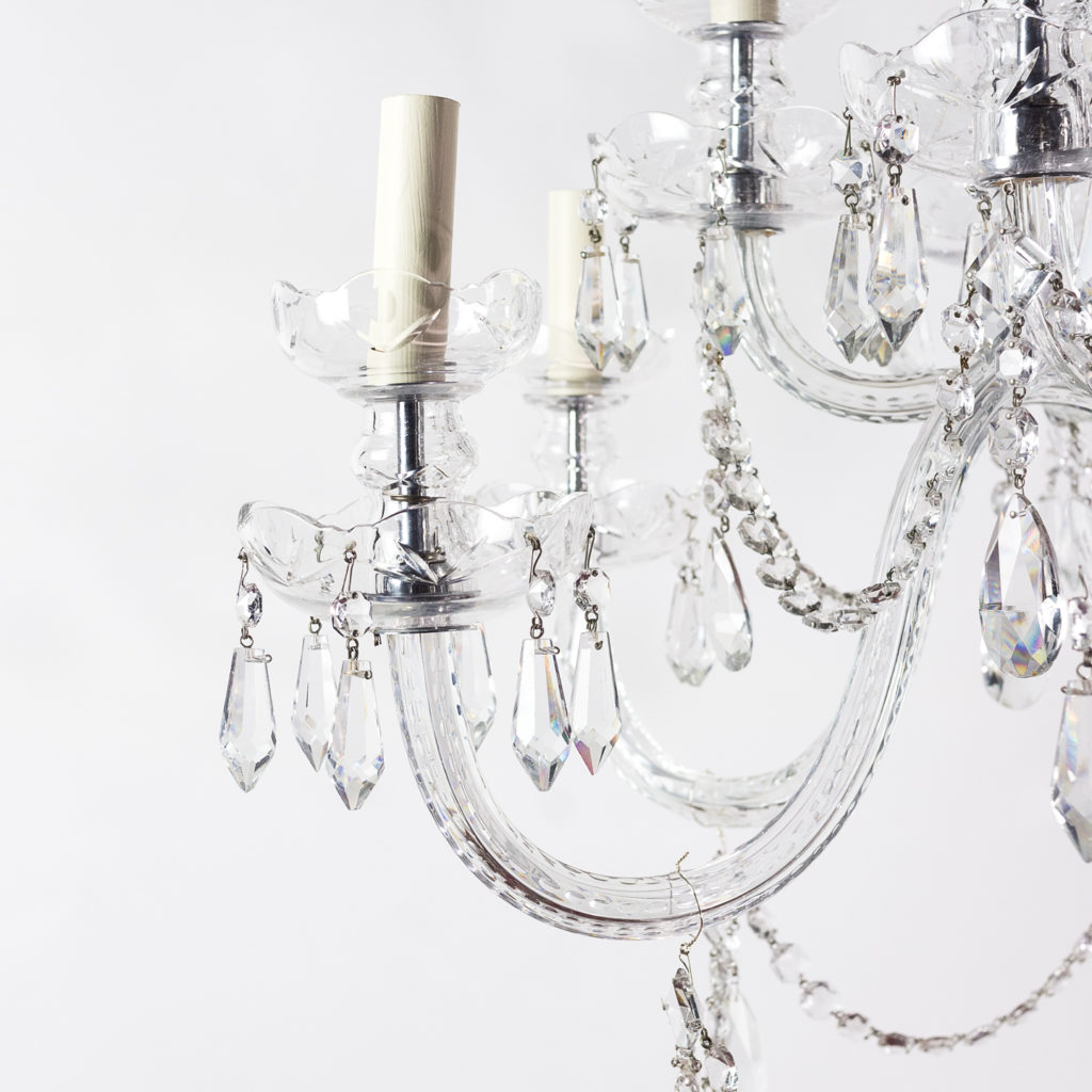 Two twentieth century cut and moulded glass twelve light chandeliers,-131577
