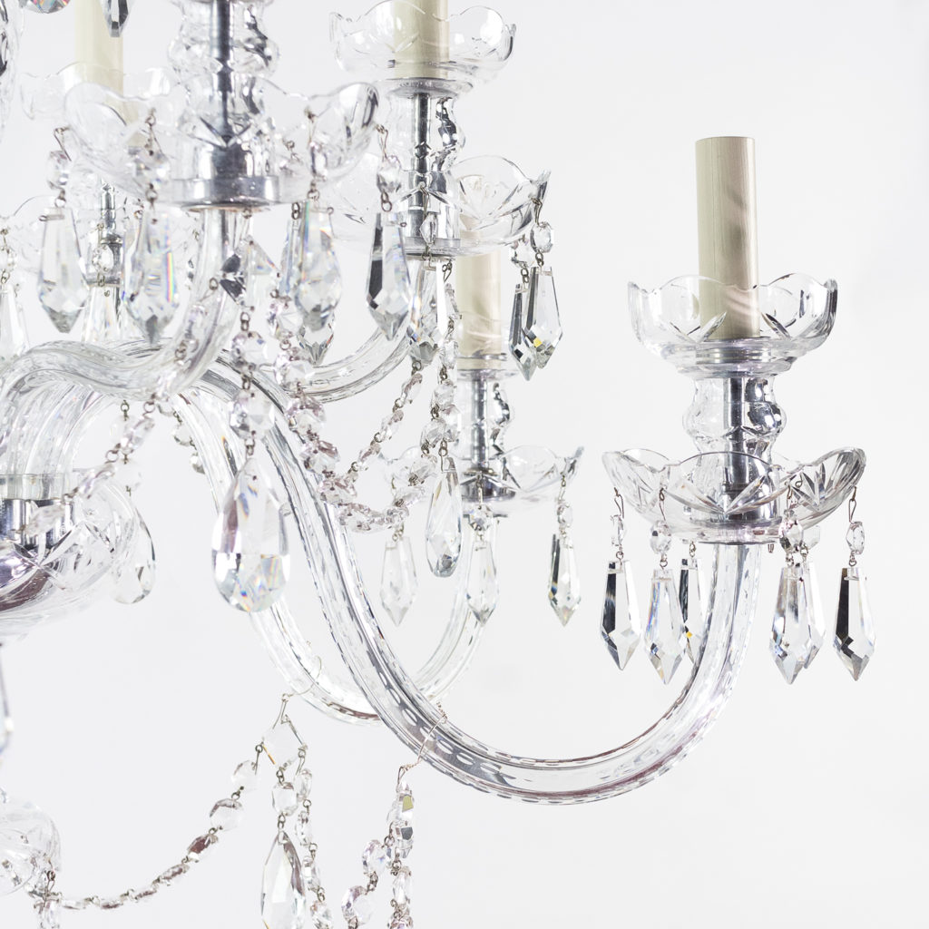 Two twentieth century cut and moulded glass twelve light chandeliers,-131578