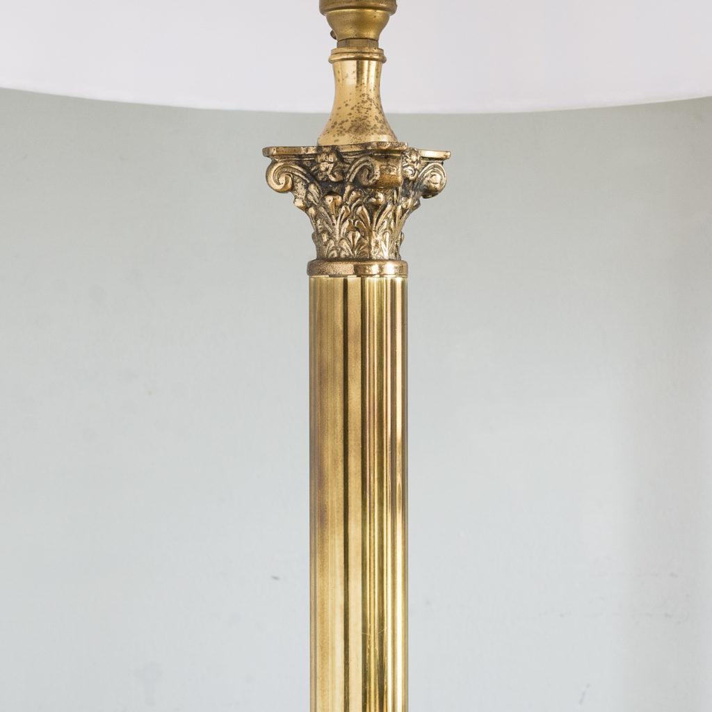 Pair of brass Corinthian column table lamps,-131538