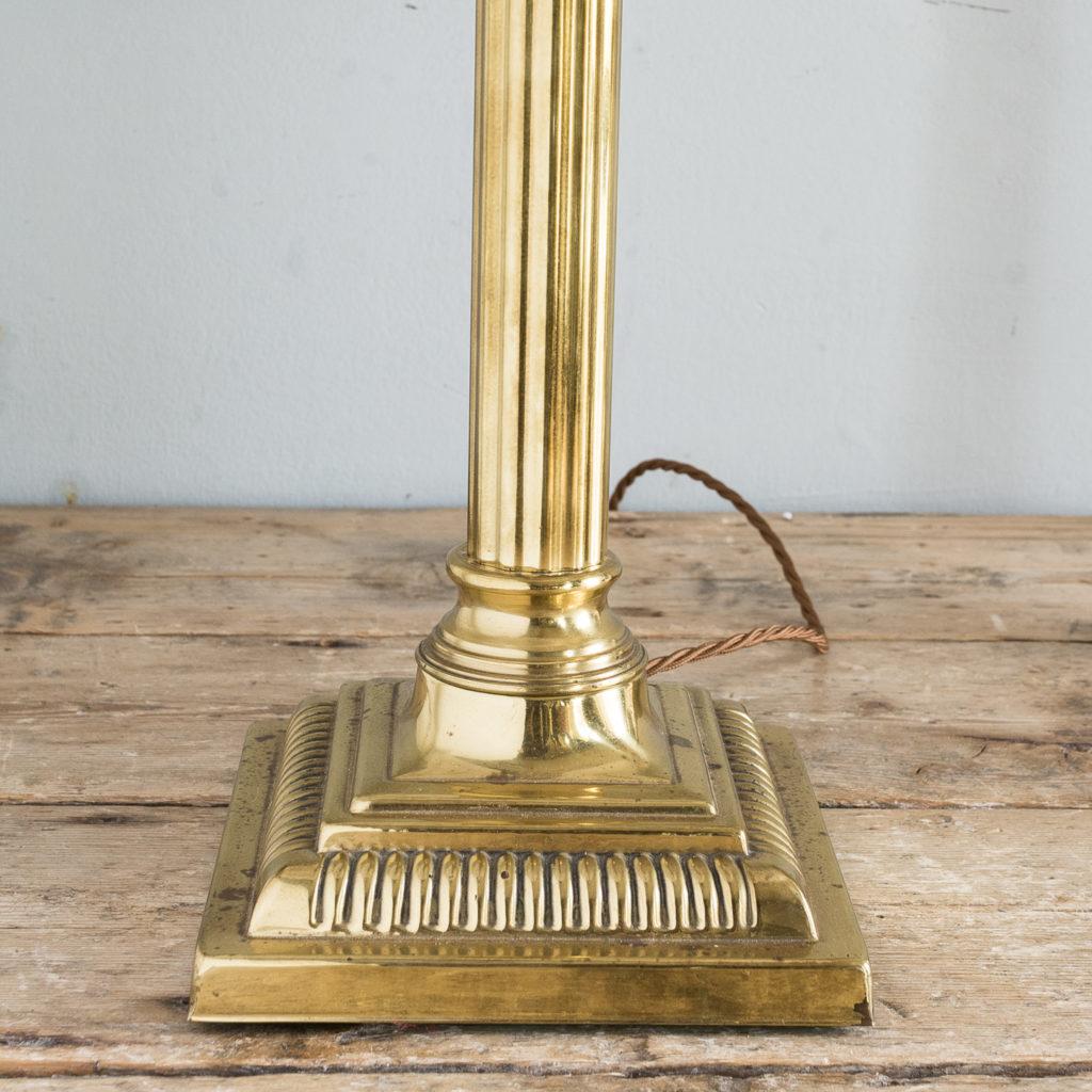 Pair of brass Corinthian column table lamps,-131540