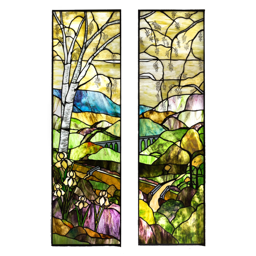 Two large Tiffany style stained glass panels,