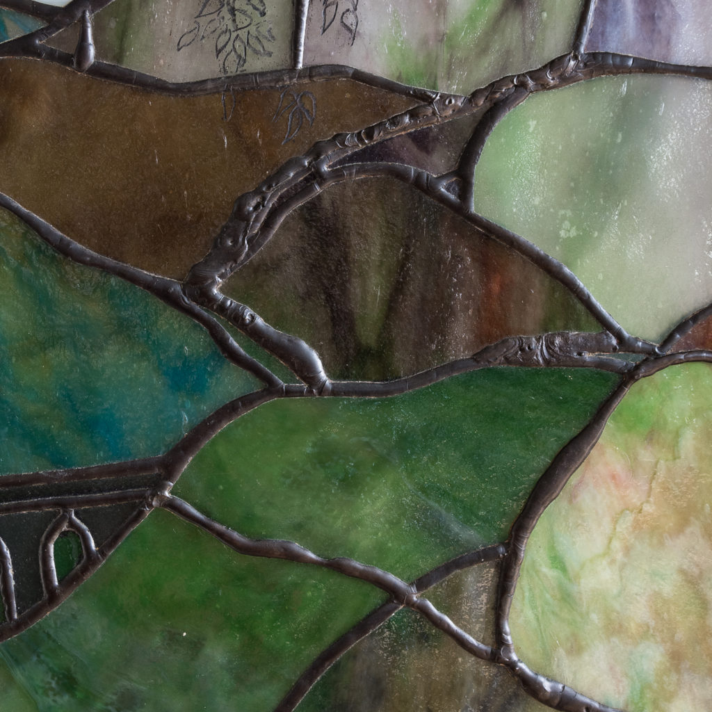 Two large Tiffany style stained glass panels, -131722