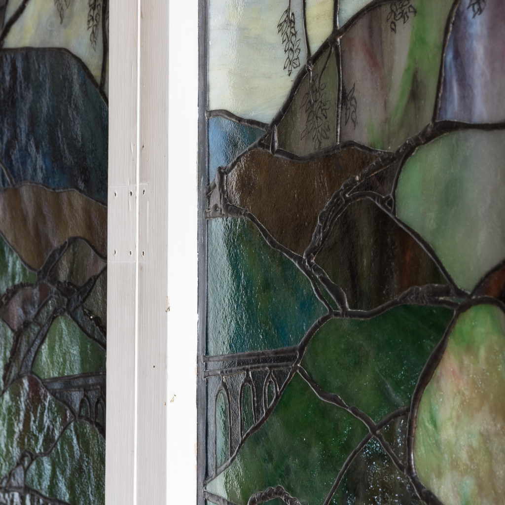 Two large Tiffany style stained glass panels, -131720