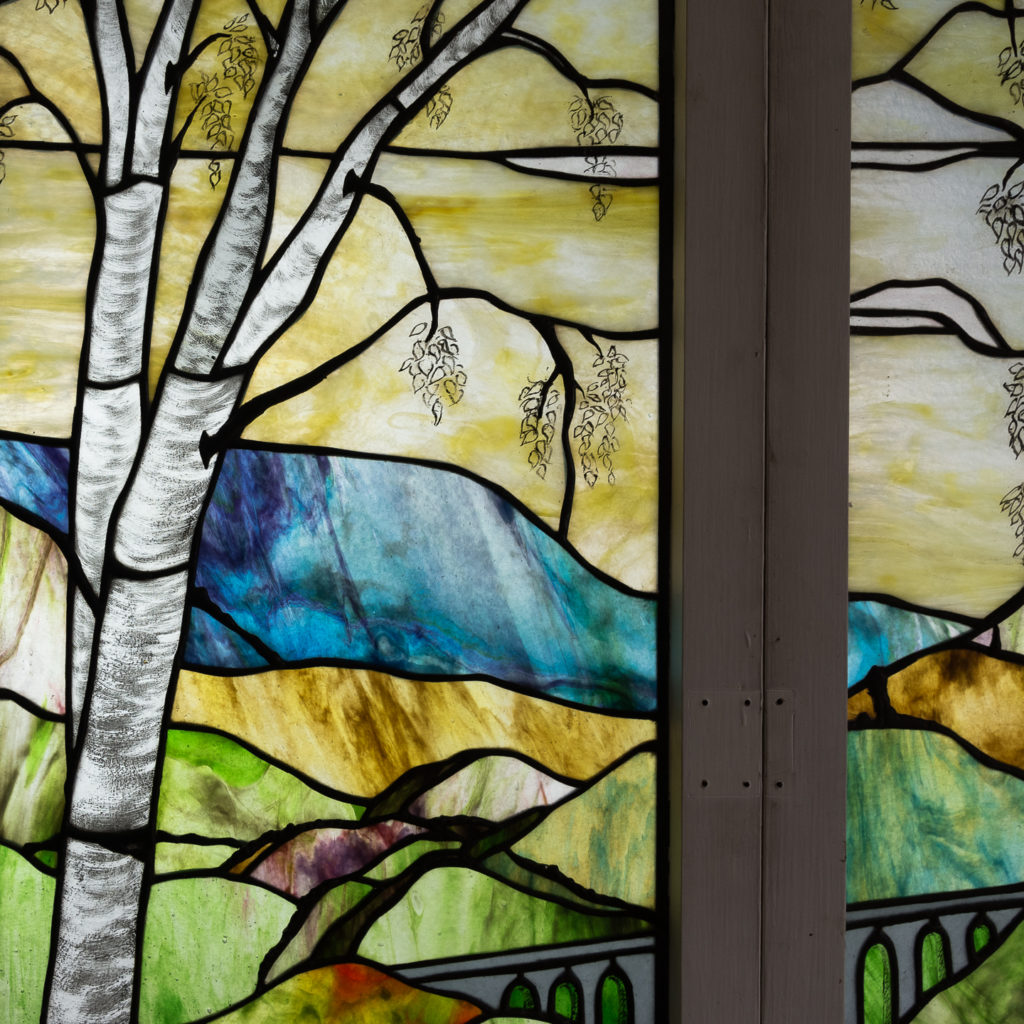Two large Tiffany style stained glass panels, -131710