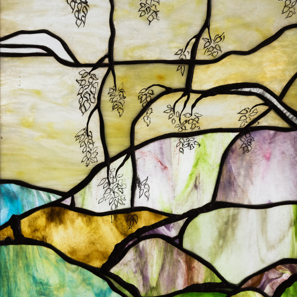 Two large Tiffany style stained glass panels, -131711