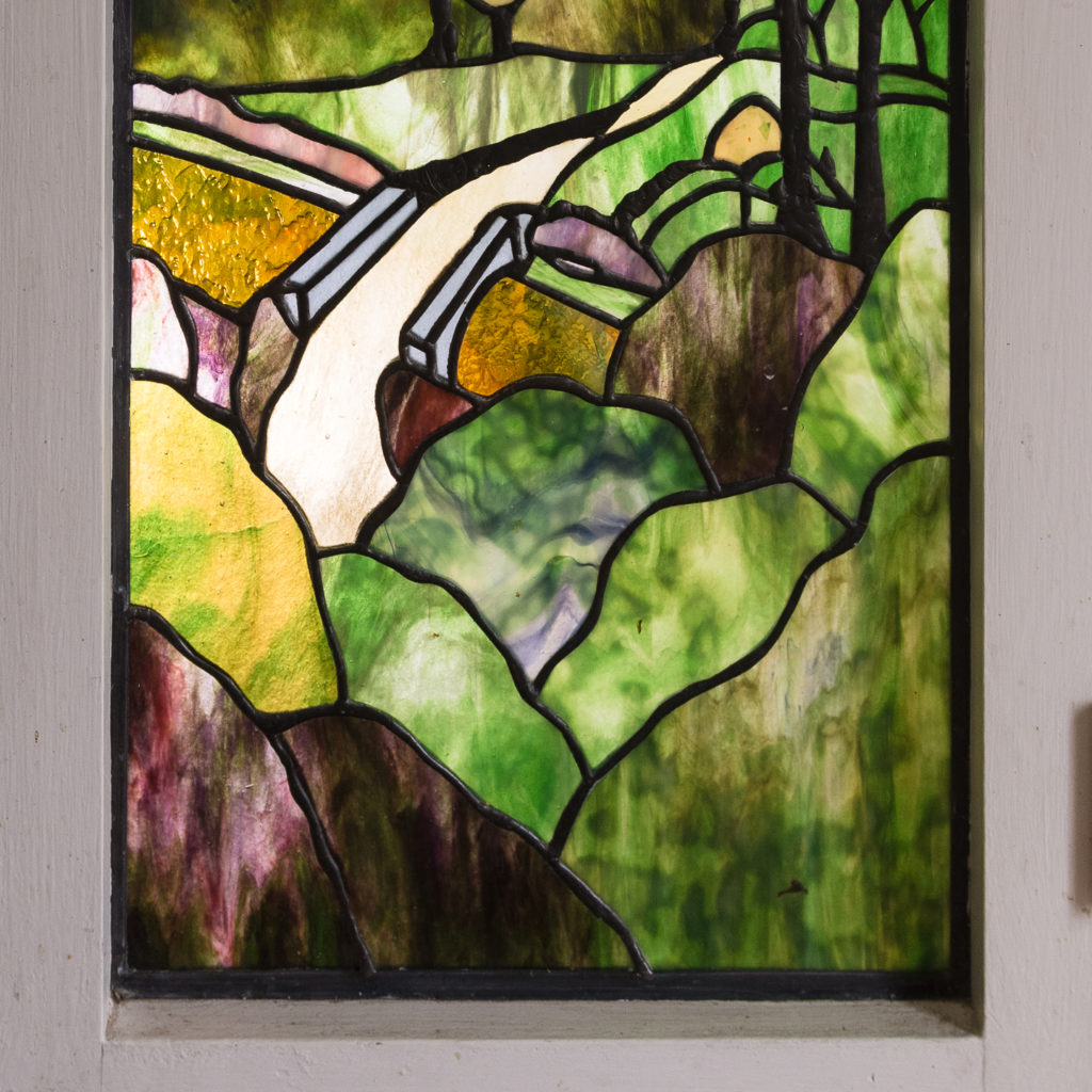 Two large Tiffany style stained glass panels, -131713
